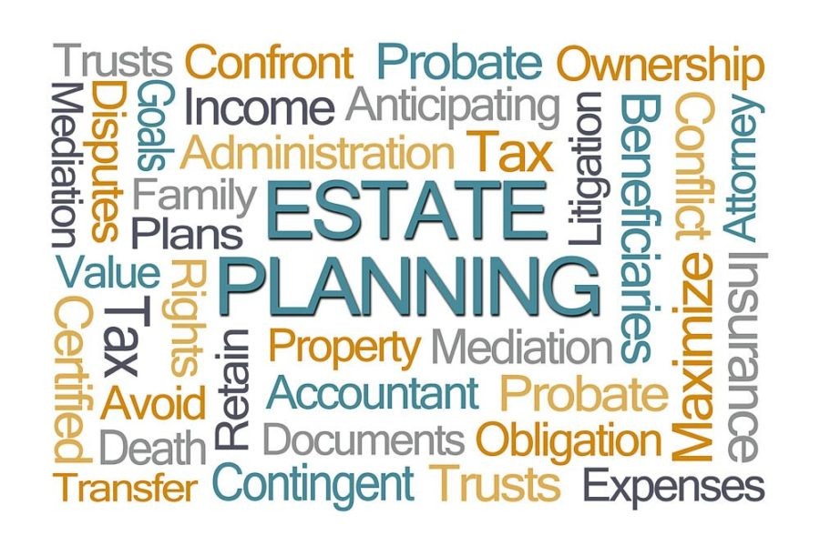 word cloud on a white background wih lots of financial words and estate planning bolded in the middle